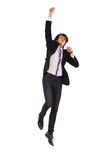 Jumping man in a suit. Royalty Free Stock Photo