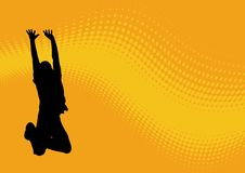 Jumping man wavy pattern. Jumping man silhouette with orange  wavy pattern Stock Photo