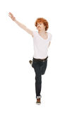 Jumping man in  white shirt Stock Photos