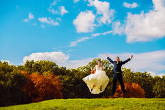 Jumping married couple on field Stock Photography