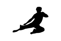 Jumping martial artist Stock Photo