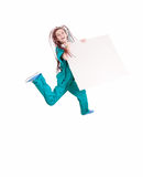 Jumping medical woman with blank board Royalty Free Stock Photography