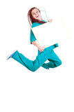 Jumping medical woman with plaits and placard Royalty Free Stock Image