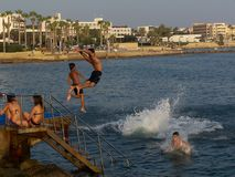 Jumping in the mediteranian sea Royalty Free Stock Images