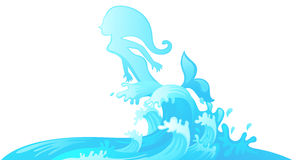 Jumping mermaid out of water vector. Illustration of jumping mermaid out of water vector Royalty Free Stock Images