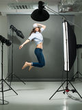 Jumping model Royalty Free Stock Photo