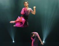 Jumping modern dancers Stock Photos