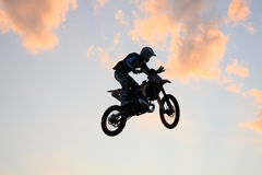 Jumping with a moto. The daboot freestyle motocross show held in colico the 4th july, the drivers are Alvaro Dal Farra and Vanni Oddera Stock Images