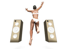 Jumping in Music Stock Photo