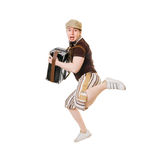Jumping musician Stock Image