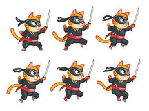 Jumping Nija Cat Animation Sprite. Cartoon Illustration of Ninja Cat Animation Sprite for game Stock Images