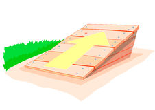 Jumping off place with yellow arrow stock illustration