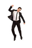 Jumping office worker. Royalty Free Stock Photo