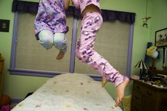 Free Jumping On A Bed Stock Image - 7303731