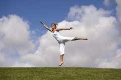 Jumping outdoor Stock Photo