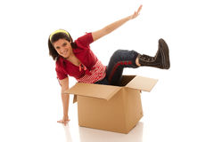 Jumping outside of the box Stock Image