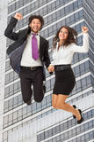 Jumping over Office building Royalty Free Stock Photos