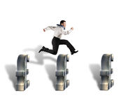 Jumping over pound symbol obstacles Royalty Free Stock Photos
