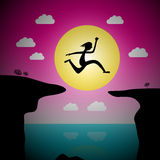 Jumping Over Precipice Vector Cartoon. Man or Woman Leap with Ocean and Sea and Sunset Sky Stock Images