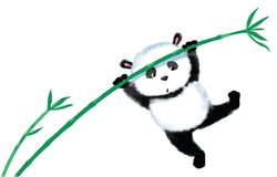 Jumping Panda on bamboo Royalty Free Stock Photography
