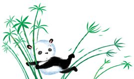 Jumping Panda on bamboo Stock Photography