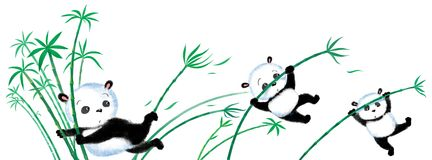 Jumping Panda on bamboo Royalty Free Stock Photos