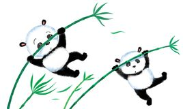 Jumping Panda on bamboo Stock Photos