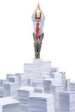 Jumping in the paperwork Royalty Free Stock Photo
