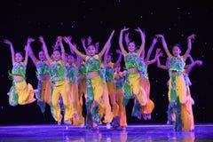 Jumping-Peking Opera students-The national folk dance Stock Images