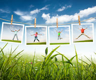 Jumping people Stock Photos
