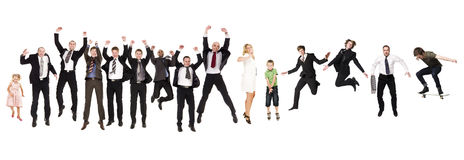 Jumping People. Group of Jumping People isolated on white Background Royalty Free Stock Photo
