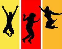 Jumping people. Vector illustration of jumping silhouettes Stock Photography