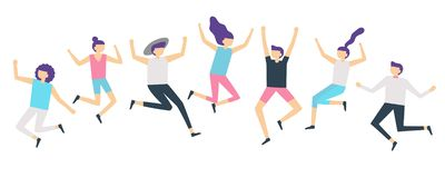 Jumping people. Active adults friends group jump. Happy female and male characters jumped and laugh vector illustration vector illustration