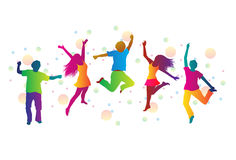 Jumping people and colored spots. Jumping people in bright clothes and colored spots Stock Photos