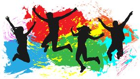 Jumping people friends silhouette, colorful bright ink splashes background. Jumping people friends silhouette, colorful bright ink splashes background Stock Photos