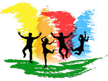 Jumping People Indicates Colorful Active And Happiness Stock Images