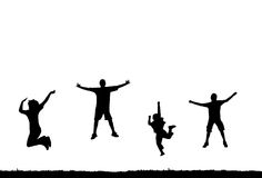 Jumping people silhouette. Four people jumping high in the air silhouettes with copy space Royalty Free Stock Photos
