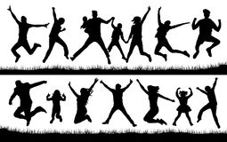 Jumping people silhouette vector. Active Jumping people silhouette vector Stock Photos