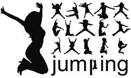 Jumping people silhouettes Royalty Free Stock Photo