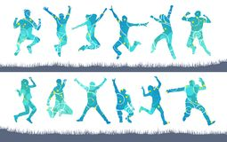 Jumping people silhouettes of men and women. vector illustration