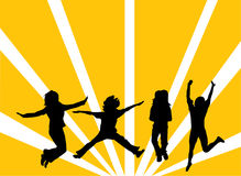Jumping People Silhouettes Vector. Jumping people silhouettes on the abstract background Stock Photo