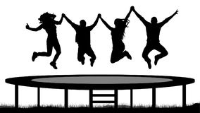 Jumping people on a trampoline silhouette, jump cheerful friends.  Royalty Free Stock Images