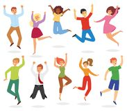 Jumping people vector happy woman or man character in activity of happiness and freedom illustration set of adults royalty free illustration