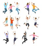 Jumping people vector happy woman or man character in activity of happiness and freedom illustration set of energy royalty free illustration