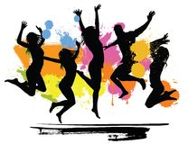 Jumping peoples. On color background Royalty Free Stock Photos