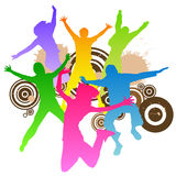 Jumping peoples. Retro design vector Stock Photo