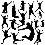 Jumping peoples. Set of jumping peoples illustration vector Stock Image
