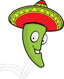 Jumping Pepper. A jalapeno hopping in a sombrero