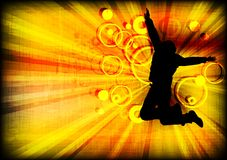 Jumping person on grunge background. Silhouette of the jumping person on grunge background (eps 10 Stock Image