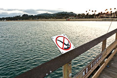 Jumping from  pier in Santa Barbara is forbidden Royalty Free Stock Photography